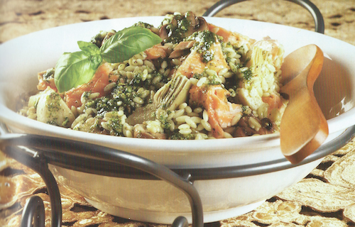 Pesto-Glazed Orzo, Salmon, and Artichokes