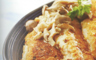 Potato-Crusted Snapper with Mushroom Sauce